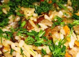Рис с грибами
