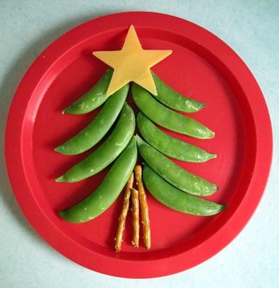 Оформление новогоднего стола. Елочки из продуктов