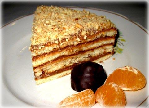 Быстрый торт на сковороде ореховый с шоколадным кремом