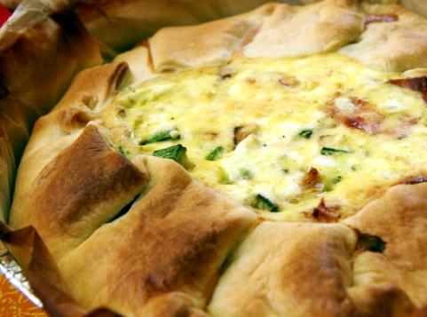 Открытый пирог с кабачками и сыром - сытно, вкусно и очень просто. Фото рецепт